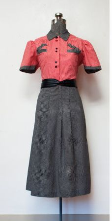 Vintage 1940s Red and Black Shirt Dress