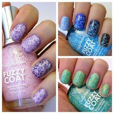 Sally Hansen Fuzzy Coat nail polish, just put on the green one.should have put a solid color under it. Types Of Nail Polish, Bad Nails, Love Nails, Spring Nail Colors, Spring Nails, Sally Hansen, Different Types Of Nails, Cute Nail Designs, Colors