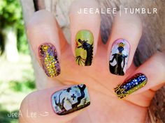 Sleeping Beauty Nails by ~jeealee on deviantART http://jeealee.deviantart.com/art/Sleeping-Beauty-Nails-325716472