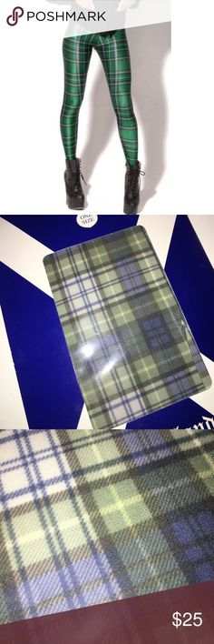 "Super Cute Plaid Tights! Green, navy and white buffalo Plaid ""Cunningham Tartan"" tights! Brand new. Still in packaging. Never been taken out. Perfect condition! These ""English Tights"" are super hot and hip in Scotland, where I got them! I got them to wear under a cute gray pencils skirt! (Cover photo is just an example of them. Actual pattern in all other images.) Accessories Hosiery & Socks"