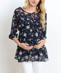 Look at this Hello Miz Navy Flower Chiffon Maternity Top on #zulily today!