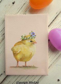 Baby Chick painting original still life bird art by 4WitsEnd via Etsy