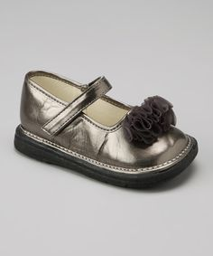 Take a look at this Scribbles Taupe Shimmer Ruffle Mary Jane on zulily today!