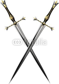 two crossed sword ornate steel swords