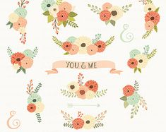 Watercolor Flowers Clipart Hand Painted Clip Art By ArtDownload