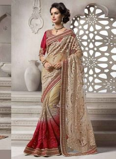 Off White And Red Shaded Designer Embroidery Work Fancy Saree http://www.angelnx.com/