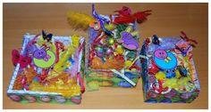 Verrassingdoosjes voor Pasen gemaakt door kleuter www.lerendoorspelen.com/fotopaaswerkjes.htm