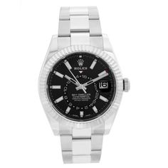 Rolex Sky-Dweller Stainless Steel Black Dial 326934 Sky Dweller, Rolex Watches For Men, White Gold, Stainless Steel, Markers, Box, Accessories, Black, Jewelry