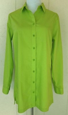 Coldwater Creek Long Sleeve Bright Green Cotton No Iron Button Top S 8 #ColdwaterCreek #ButtonDownShirt