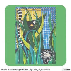 Hunter in Camouflage Whimsical Cat Art Square Paper Coaster. Cat Art by Cats of Karavella, Cat painting by Dora Hathazi Mendes. Cat Gifts for #catlovers by #dorahathazi