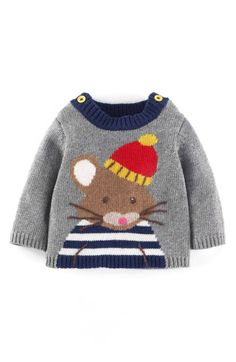 Knitting Baby Jumper Mini Boden Ideas For 2019 Baby Boy Knitting Patterns, Knitting For Kids, Baby Patterns, Baby Boy Sweater, Baby Cardigan, Knitted Poncho, Knitted Hats, Animal Sweater, Pull Bebe