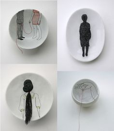 embroidered porcelain by Diem Chau