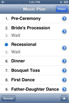 """MY WEDDING DJ"" PHONE APP - ""Running your music on an iPod can be great, but not if the wrong song comes on or the music cuts out. That's why WeddingDJ helps you plan out all the music you need at your wedding, using the songs and playlists you have in iTunes. When the big day comes, you hand it off to your MC, who simply needs to slide ""next"" for each part of your wedding!"""