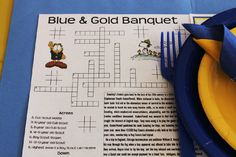 Printable Worksheet/Placemat for the Blue & Gold