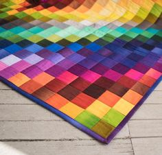 If you can sew a straight line, you can make this breathtaking Trip Around the World Quilt Top Quilt Kit! While this dazzling design looks time-consuming, you'll simply sew strips together before cutting these tubes into crosswise strips. Then, you'll have created all the lovely little squares for your quilt without having to piece them individually. Make your own version of this top using the included pattern and rainbow of Benartex Gradations fabrics in gorgeous gem hues.