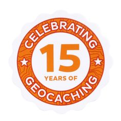 """15 Years of Geocaching Sticker $2.00 Celebrate 15 Years of Geocaching!  This vinyl sticker is designed to permanently adhere to whatever you stick it to. Show your Geocaching Pride and celebrate 15 Years of this amazing game of discovery, exploration and adventure!  Size: 3"""" (7.5 cm) in diameter."""