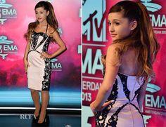MTV EMA backstage correspondent Ariana Grande, took to the red carpet prior interviewing celebrities at the Ziggo Dome in Amsterdam this evening. Peplum Dress, Bodycon Dress, Ariana Grande Photos, Cat Valentine, Red Carpet Fashion, Mtv, Superstar, Celebrity Style, Awards