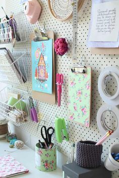 pegboard organisation - craft room