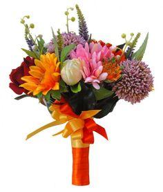 Brides Mixed Wedding Bouquet in Silk Flowers - Bridal Bouquets - Handtied Posies - Brides Mixed Handtied Wedding Bouquet in Silk Flowers - Artificial Wedding Flowers | Sarah's Flowers