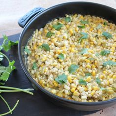 Green Chili Cilantro Creamed Corn #recipe #vegetarian #glutenfree