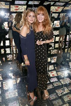 Olivia Palermo and makeup artist Charlotte Tilbury pose for a photo during Charlotte Tilbury x Samsung at 837 Washington on September 10 2016 in New...