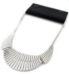 Silver Geometric Sector Chain Necklace 5.60