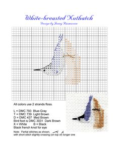 White Breasted Nuthatch Cross Stitch pattern! How adorable!