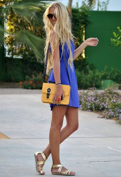 blue and  yellow outfit #style #dress #bag #satchel