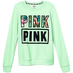 PINK Perfect Crew ($35) ❤ liked on Polyvore featuring tops, slimming tops, pink top, green top, graphic tops and crew top