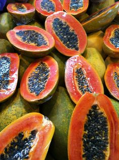 The fruit is sweet, low in calories and high in potassium and vitamin A. Papaya is also used in drinks, jellies, salads, desserts and is also dried and candied. Fruit And Veg, Fruits And Vegetables, Fresh Fruit, Papaya Tree, Fruit Photography, Beautiful Fruits, Caribbean Recipes, Tropical Fruits, Delicious Fruit