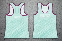 """Women's sports KONOCZASPI tank tops without illustration. MINT turquoise with pattern """"scribble""""."""