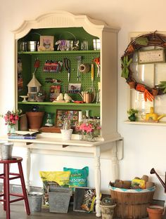 turn an old china cabinet into a tool storage.