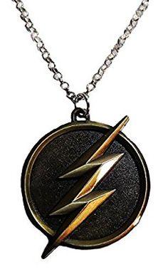 Marvel Comics THE FLASH Lightening Bolt Logo Antique Brass Finish PENDANT