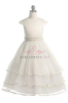Ivory Gorgeous Satin and Tulle Flower Girl Dress G3412-IV G3412-IV $53.95 on www.GirlsDressLine.Com