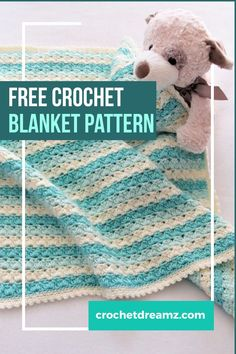 Try this free unisex crochet blanket pattern which beginners and experienced crocheters will enjoy. The Afghan border is also super easy and is quick compared to a picot border. You can make it for a baby or for your home. Crochet Blanket Edging, Baby Afghan Crochet Patterns, Baby Boy Crochet Blanket, Crochet Granny Square Afghan, Crochet Quilt, Crochet Baby, Free Crochet, Crochet Blankets, Ripple Afghan