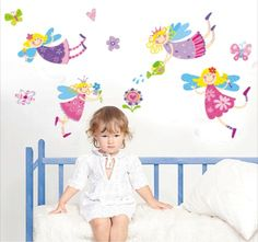 Vliegende prinsesjes voor op een echte meidenkamer! Kijk snel op www.hippemuurstickers.nl