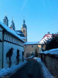 Blick von der Viktor-von-Scheffel-Strasse zur Basilika, Gößweinstein, Fränkische Schweiz, Bayern, Deutschland