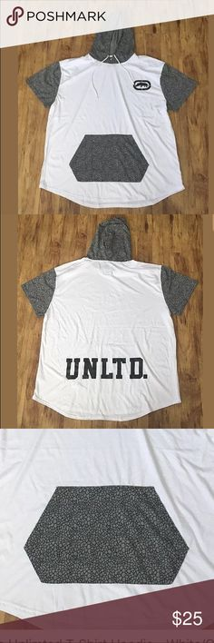 Ecko Unlimited Hoodie T-Shirt- 3X - White -NWT Size: 3X  Color: White/Gray  Short Sleeve  Front Pocket  60% cotton, 40% polyester  Brand new with tags   MSRP: $44.00 Ecko Unlimited Shirts Tees - Short Sleeve