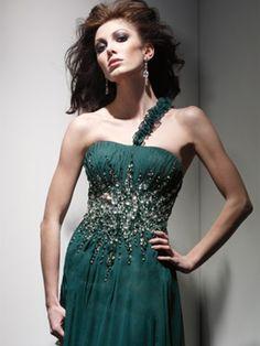 Rhinestone Dress in Dark Green $145.99