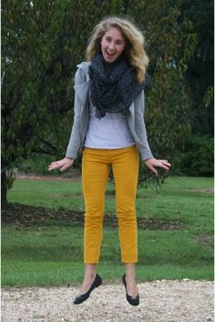 mustard Loft pants - black Target scarf - ivory Gap t-shirt