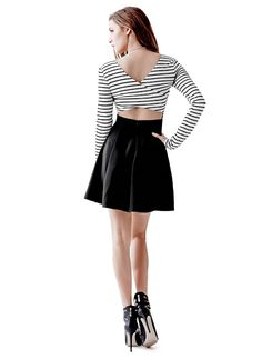 Striped Fit-and-Flare Dress at Guess 4fa64fc325