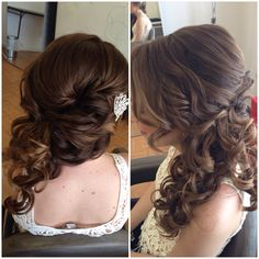 Bridal hair, wedding hair, side swept updo, side ponytail, curly ponytail, updo, bridesmaid hair, prom hair, homecoming hair, beautybyverlin