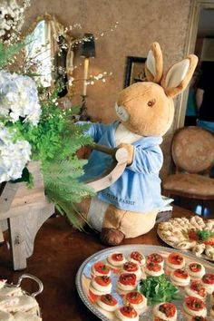 beatrix potter peter rabbit first birthday party giant stuffed rabbit