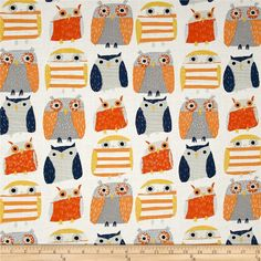 Dear Stella Wildwood Owls Multi from @fabricdotcom  Designed for Dear Stella Designs, this cotton fabric is perfect for quilting, apparel and home decor accents. Colors include white and shades of orange and blue.