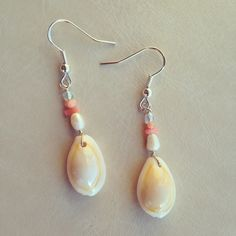 Coral and Cowrie Shell Dangle Earrings £10.00