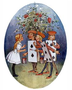Margaret Tarrant ~ Painting the Roses Red ~ from Alice's Adventures in Wonderland ~ 1916 ~