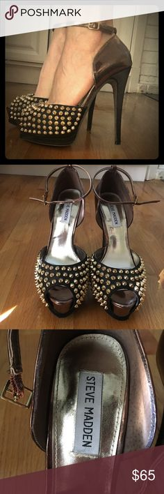 Steve Madden 5.5 inch Gold Studded High Heels Bad A$$ B!tch heels! These gorgeous shoes are stunners. Gold Studs overlay black silk with a bronze contrast. Originally $175. I have worn them 4 times. Steve Madden Shoes Heels