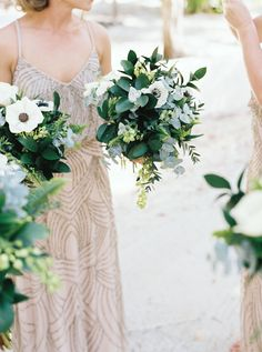 Anemone and greenery wedding bouquets: A Colorful Tulum, Mexico Lovefest