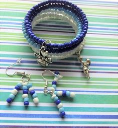 NFL Tennessee Titans Football Team Wrap Bracelet for Women with Matching Earrings, National Football League Football Memory Wire TRP17222 by BlingItOutLoudCharms on Etsy