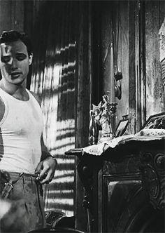 """Marlon Brando in """"A Streetcar Named Desire. Vintage Hollywood, Classic Hollywood, In Hollywood, Actors Male, Handsome Actors, Marlon Brando, El Divo, Don Corleone, Streetcar Named Desire"""